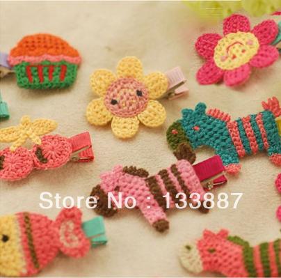 Freeshipping Mix Design (12 PCS/LOTS) Wool Knitting Kids Hair Clip Cute Cartoon Children Hair Ornaments(China (Mainland))