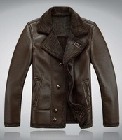 Autumn/winter 2013 sheep fur leather leather men's leisure coat lapels leather jackets. Free shipping