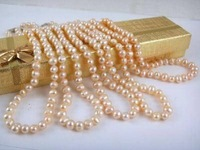 "Wholesale 4pcs 7-8mm Pink Akoya Pearl Necklace 18""MY1181"