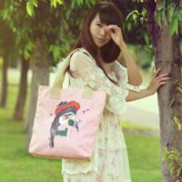 2013 print bag canvas shopping bag tote one shoulder student school bag women's handbag