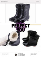 SALE women's crystal plus cotton rain shoes rain boots transparent rainboots FREE SHIPPING