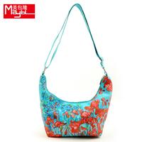 Bag autumn flower print canvas women's handbag one shoulder cross-body bag canvas bag hd print