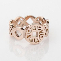 Lucky 14k rose gold coins titanium ring female