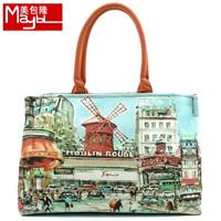 Bag fashion oil painting print one shoulder handbag canvas bag women's handbag m669