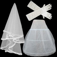 Bridal veil elastic satin gloves gauze skirt combination white
