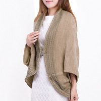 2013 small open front knitted yarn women's small cape thermal scarf heater
