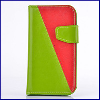 Double contrast color PU leather wallet case for Iphone 4 4S Flip cover phone bags case with card holder for iphone4