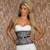 The new European and American women's fashion sleeveless station Bra chest wrapped neck waist dress sexy package hip