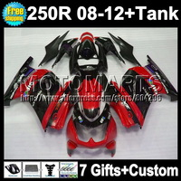 Fairing For KAWASAKI NINJA 250R 08 09 red black 10 11 12 16Q1354 ZX250R  +Tank ZX 250R red blk ZX250 R 2008 2009 2010 2011 2012