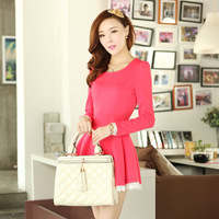 Free shipping 2013 autumn women's slim long-sleeve dress decoration lace one-piece dress