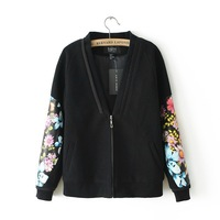 2013 Autumn Winter New European Style Vintage Flower Print Leather Spell Sleeve Woman Coat Baseball Woolen V Neck Jackets Women