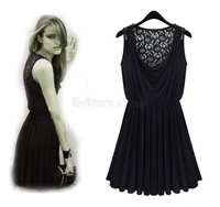 New Milk Silk Black Lace Perspective Vestidos Vintage Sleeveless WomenvSummer Black Pleated Retro Dress SA154