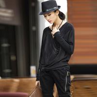 2014 spring fashion loose batwing sleeve water wash t-shirt 9215
