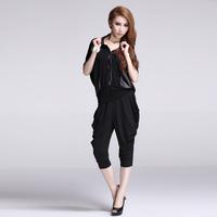 Fashion elastic 9121 loose plus size shirt collar short-sleeve T-shirt harem pants