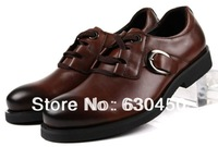Mens Casual shoes Black / brown genuine leather mens business dress shoes Eur size 37 to 44 Retail/wholesale Free shipping