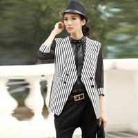 2014 spring fashion slim gauze three quarter sleeve outerwear 9335