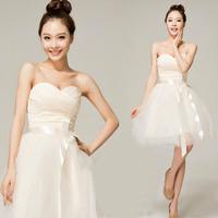 Girl Slim Sexy Strapless Mesh Shool Party Gown Prom Mini Dress Bridesmaid dress wedding dress short  evening dress 2014