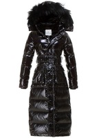 HOT SALE 2013 New Fashion Ladies Down Jacket with Fox Fur Hat Slim Fitting body Long to Ankle Style Warm S-XXL
