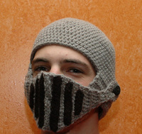 Winter New arrival black Gray acrylic hand-made knitted Horseman hat, stripes winter beard hats