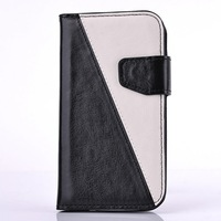 wholesale 10 pcs/lot Double contrast color PU leather wallet case for Iphone 4 4S Flip cover phone bags case