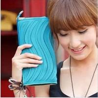 Candy color wave 2013 one shoulder cross-body wallet day clutch women's handbag