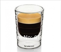 Nestle Nespresso SA 144 Pcs/lot Europe style Double Wall shot Glass Coffee Cup,Mug,teacu ,Thermo Glass Cups 85ml,2.8oz