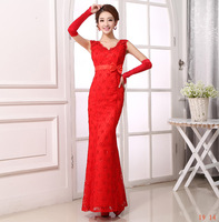 Suzhou Huqiu Outlet 2014 New Arrival Red Satin And Embroidery Lace Laciness V-neck Collar Hip Package Slim Sexy Evening Dress