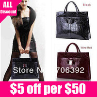 Free Shipping Vintage Vintage Style New Fake Crocodile Patent Leather Women Handbag Shoulder Bag Messenger Bags Two Colors
