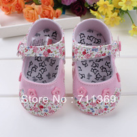 Free shipping wholesale The new foreign trade toddler shoes baby soft bottom shoes pink flowers first walker shoes from 11-13cm