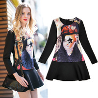 New 2013 winter fashion printed star's eyes long-sleeve thickening ruffle one-piece vintage Runway dress female slim