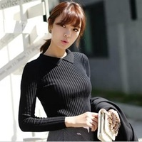 0928 autumn and winter women turn-down collar medium-long slim hip tight fitting basic shirt sweater