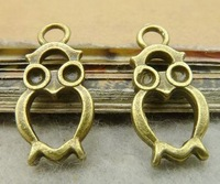 Owl charm pendant- 10x20mm, antique bronze,  wholesale, Free shipping, diy, supplies,