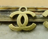 Two letters c charm pendant-  15x16mm, antique bronze,  wholesale, Free shipping, diy