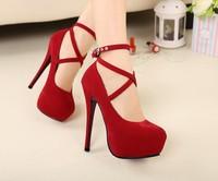 Princess wedding  red  married high-heeled  ultra   thin heels women's  bridal shoes