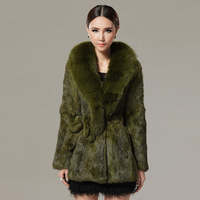 2014 Italy design  Eurp order orginal Fur coat medium-long Top rabbit fur fox plus size clothing Slim outerwear for winnter