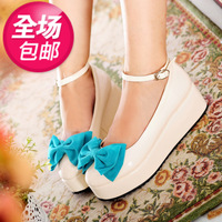 2013 gentlewomen shallow mouth bow round toe hasp platform shoes single shoes women's wedges shoes