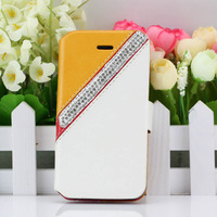 Fashion Multi-colour Leather PU Diamond Rhinestone Crystal Bling Flip Wallet Stand Case Cover For Iphone 4 4S