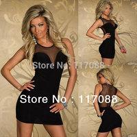 Free Shipping ML17930 Round Neckline Sleeveless Lace Detail Sexy Black Modern Girls Dresses