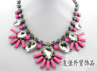 Fashion necklace magazine hot-selling neon resin drop alloy gem flower short necklace chain