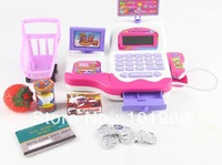 Free Shipping Kids Role Play Supermarket Kid Baby Cash Register Scanner Grocery Money Education Toy