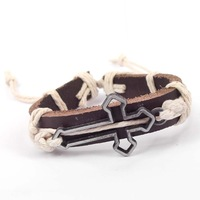 Fashion punk lovers bracelet cowhide all-match skull cross souvenir