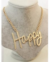 Min order 10USD(Mix order) SJB402  Western Style Fashion charms chain Happy Letter Necklaces & Pendants
