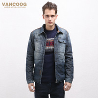 Vancoog 2014 winter wadded jacket male denim outerwear short design patchwork cotton-padded jacket male wadded jacket