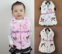 2014New children outwear girls Balloon pattern waistcoat Princess Ultra-soft plush vest baby clothes Jacket pink/red/yellow3/lot