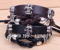 12Pcs/Lot Fashion Skull Bracelet Leather Bracelet