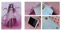 Kawaii Cartoon leather case for ipad air PU flip cover for ipad5 sleep\wake up  stand cases for ipad 5 with retial box