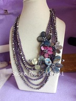 Free Ship!!! pearl + crystal flower length chain colorful necklace.