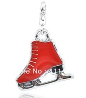 free shipping 5 pcs a lot fashion red enamel ice skate charms