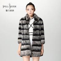 winter rabbbit chinchilla fur coat Genuine rex rabbit fur leather medium-long slim fur coat 2013 autumn and winter female