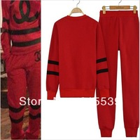 2014 Women's NEW SET FAKE CC hoodies sport RED sweatshirt hooded good quailty fake letter cc tops + Pants